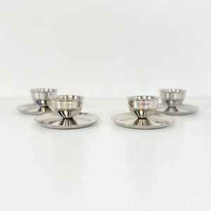 4x Vintage Mid Century Stainless Steel Egg Cups